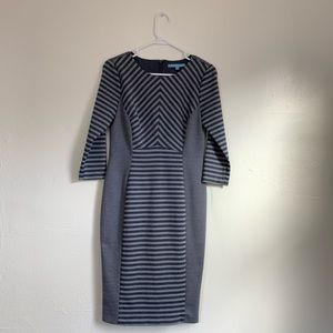 ANTONIO MELANI diagonal stripe sheath dress